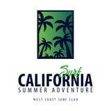 Surfa logo och emblem för bränning klubba eller shoppa också vektor för coreldrawillustration Royaltyfri Foto