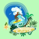 Surfa mannen som erövrar en bild för våglogovektor stock illustrationer