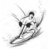 Surfa t-skjorta etikettdesign Royaltyfri Foto