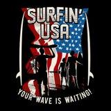Surfa USA, bränning, vinkar du väntar stock illustrationer