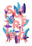 Surfa vattenaktivitet för ungdomar Kvinna och man med surfingbrädan på stranden Den manliga ridningen på våg ser in Kvinnligt tec royaltyfri illustrationer