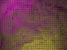 Surface of abstract cubes in purple and yellow colors.3d illustration. Royalty Free Stock Photos