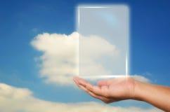 Surface adjacente ouverte d'écran blanc de main humaine Photo libre de droits