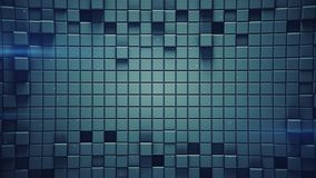 Surface of blue 3D cubes and light flares. Surface of blue cubes and light flares. Abstract background. 3D rendering Royalty Free Stock Photography