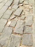 Surface of a broken cement brick pavement for textural background Stock Image