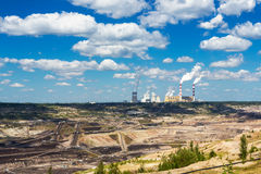 Surface coal mining and power station Stock Images