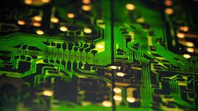 Surface of computer hardware part - circuit, motherboard,cpu. The computer chip of the old sample Board green rotates. Close-up shot on macro lens stock video