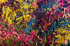 Surface covered with colorful pencil's graphite chips.  Stock Image