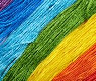 Surface covered with embroidery thread yarns Stock Photo