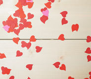 Surface covered with heart shaped confetti Royalty Free Stock Image