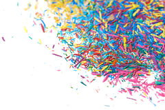 Surface covered with pencil's graphite chips. Surface covered with colorful pencil's graphite chips shavings as an abstract copyspace background composition Stock Photography
