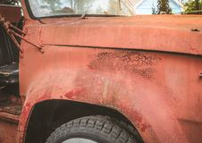 Surface crack of red color on body car Stock Image