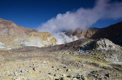 Surface of the crater of an active volcano. New Zealand. Royalty Free Stock Images