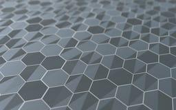 Surface 3d abstraite avec des hexagones Image stock