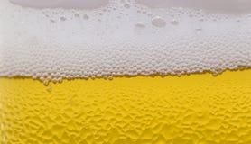 Surface d'un verre de bière avec la mousse et les baisses Photos stock