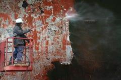 Surface de grattement avant bateau de peinture Image stock