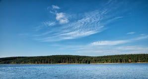 Surface de lac avec la forêt et les arbres Photos stock