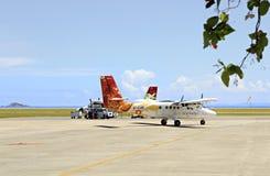 Surface des lignes aériennes locales chez les Seychelles internationales Images libres de droits