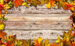 Surface en bois lumineuse de feuilles d'automne vieille Photo stock