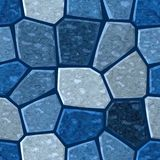 Surface floor mosaic pattern seamless background with dark grout - medium blue color. Surface floor marble mosaic pattern seamless background with dark grout vector illustration