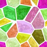 Surface floor mosaic pattern seamless background with white grout - full spectrum color - highlight green yellow orange pin. Surface floor marble mosaic pattern Royalty Free Stock Images