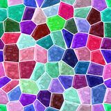 Floor marble mosaic pattern seamless background with white grout - red, pink, blue, green, turquoise, maroon, purple color. Surface floor marble mosaic pattern vector illustration
