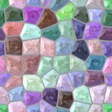 Surface floor marble mosaic seamless background with gray grout - cute pastel full color spectrum. Surface floor marble mosaic pattern seamless background with Stock Image