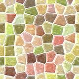 Surface floor marble mosaic seamless background with white grout - natural pastel full color spectrum - pink, beige, yello. Surface floor marble mosaic pattern Stock Images