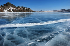 Surface of frozen lake Royalty Free Stock Image