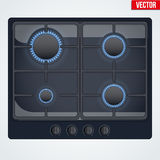 Surface of gas stove with flame. Stock Photos