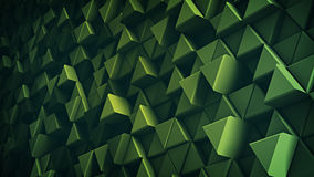 Surface of green extruded triangles 3D render. Surface of green extruded triangles. Abstract trendy background with geometric elements. 3D render illustration Stock Photos