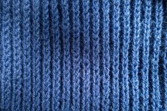 Surface of handmade blue rib knit fabric. Surface of hand made blue rib knit fabric Stock Images
