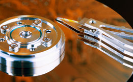 Surface of hard disk - an unusual lighting Stock Photos