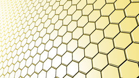Surface of hexagonal tiles yellow color Royalty Free Stock Photos