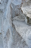 Surface hoar ice crystals formed on rockface in winter Royalty Free Stock Photography