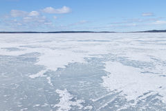 The surface of the lake covered with ice Royalty Free Stock Photography