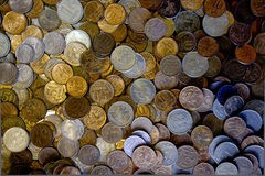 Surface with many coins Royalty Free Stock Photos