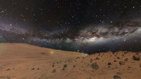 Surface of the mars and the Milky Way Stock Image