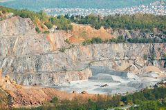 Surface mine in landscape stock images