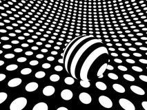 Surface monochrome incurvée de point de polka avec la sphère Photo stock