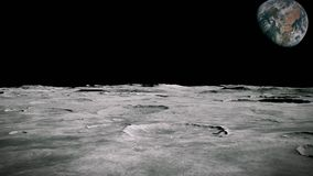 Surface of the Moon landscape. Flying over the Moon surface. Close up view. 3D Rendering royalty free illustration