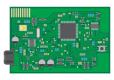 Surface mount technology PCBA top view Stock Image