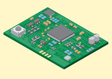 Surface mount technology PCBA. Vector surface mount technology printed circuit board isometric Royalty Free Stock Photo