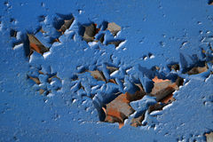 Surface of the old blue wall. The peel off surface of the old painted wall in blue color Stock Photo