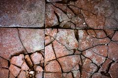 Surface of the old and damaged tiles Stock Image