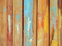 Surface of old wood painted colorful plank Stock Photos