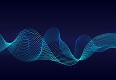 Surface onduleuse abstraite de particules sur le fond bleu-foncé Soundwave des lignes de gradient Égaliseur numérique moderne de  illustration libre de droits