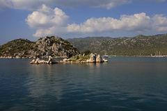Surface part of the sunken city of Kekova Royalty Free Stock Images