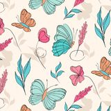 Surface pattern with beautiful butterflies and flowers. Botanical gift wrap. Macro nature tropical cover print. Nature. Sketch in pastel colors for textile Royalty Free Stock Images