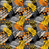 Surface pattern design, graffiti seamless hand craft expressive. Ink hipster pattern.Grunge urban dynamic expressive bright painting.Print for textile,apparel Stock Image